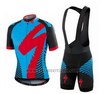 2016 Cycling Jersey Specialized Blue and Black Short Sleeve and Bib Short