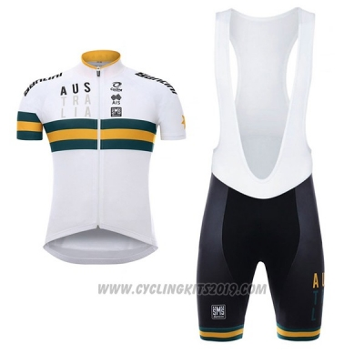 2017 Cycling Jersey Australia White and Yellow Short Sleeve and Bib Short