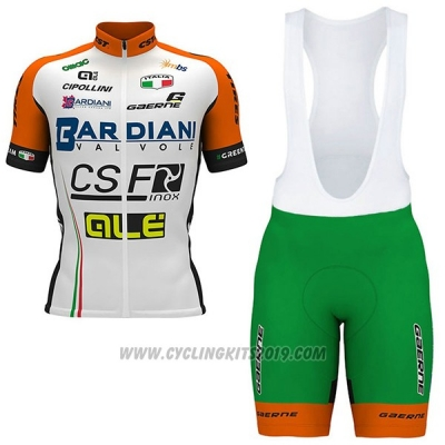 2017 Cycling Jersey Bardiani Csf White and Green Short Sleeve and Bib Short