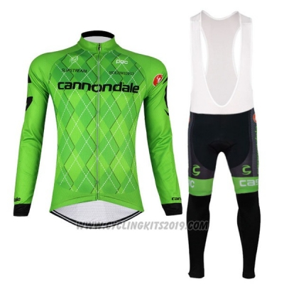 2017 Cycling Jersey Cannondale Green and Black Long Sleeve and Bib Tight