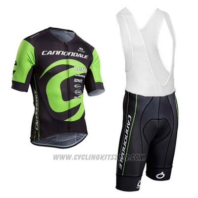 2017 Cycling Jersey Cannondale Green and Black Short Sleeve and Bib Short