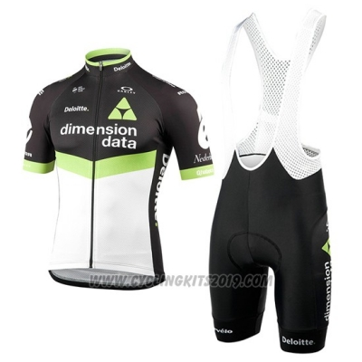 2017 Cycling Jersey Dimension Data Green and Black Short Sleeve and Bib Short