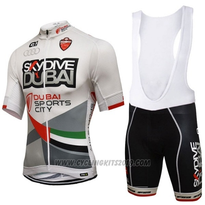 2017 Cycling Jersey Dive Dubai White Short Sleeve and Bib Short