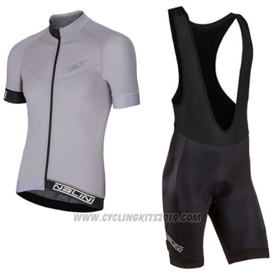 2017 Cycling Jersey Nalini Curva Slate Silver Short Sleeve and Salopette