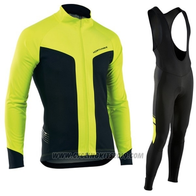2017 Cycling Jersey Nalini Northwave Ml Yellow and Black Long Sleeve and Bib Tight