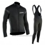 2017 Cycling Jersey Northwave Ml Deep Black Long Sleeve and Bib Tight