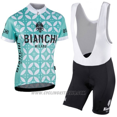 2017 Cycling Jersey Women Bianchi Green and White Short Sleeve and Bib Short