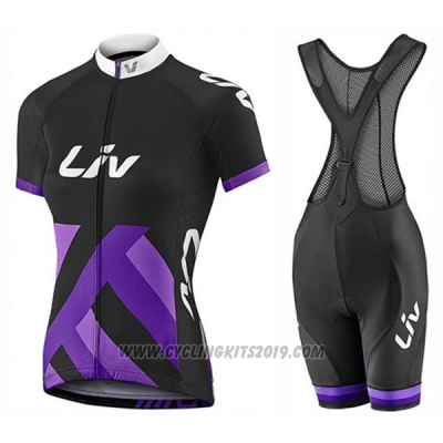 2017 Cycling Jersey Women Liv Race Day Black and Purple Short Sleeve and Bib Short