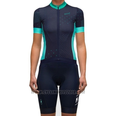 2017 Cycling Jersey Women Maap Black Short Sleeve and Bib Short