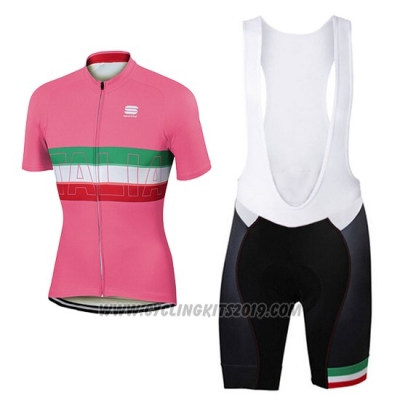 2017 Cycling Jersey Women Sportful Pink Short Sleeve and Bib Short