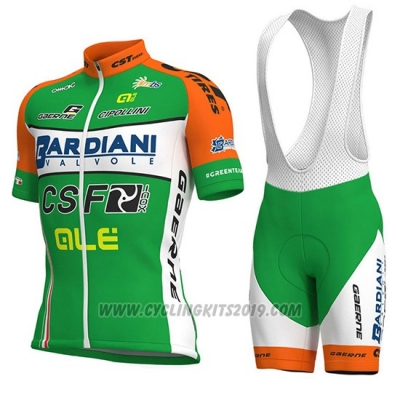 2018 Cycling Jersey Bardiani Csf Green and White Short Sleeve and Bib Short