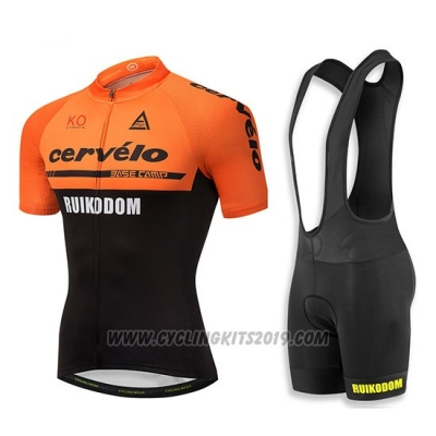2018 Cycling Jersey Cervelo Orange and Black Short Sleeve and Bib Short
