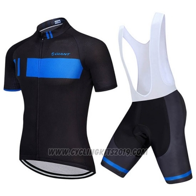 2018 Cycling Jersey Giant Black and Blue Short Sleeve and Bib Short