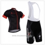 2018 Cycling Jersey Specialized Black Red Short Sleeve and Bib Short