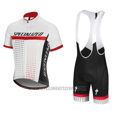 2018 Cycling Jersey Specialized White Red Short Sleeve and Bib Short