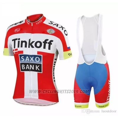 2018 Cycling Jersey Tinkoff Saxo Bank Red White Short Sleeve and Bib Short