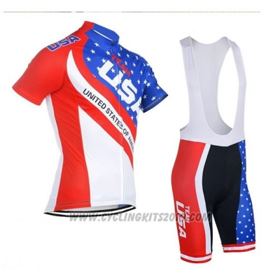 2018 Cycling Jersey USA Blue and Red Short Sleeve and Bib Short