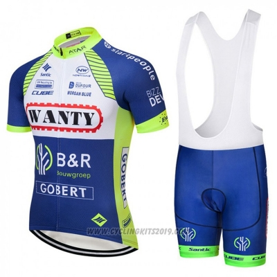 2018 Cycling Jersey Wanty Blue and White Short Sleeve Bib Short