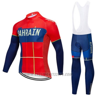 2019 Cycling Jersey Bahrain Merida Red Long Sleeve and Bib Tight