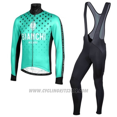 2019 Cycling Jersey Bianchi Milano FT Blue Black Long Sleeve and Bib Tight
