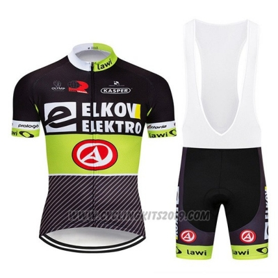 2019 Cycling Jersey Elkov Elektro Black Green Short Sleeve and Bib Short