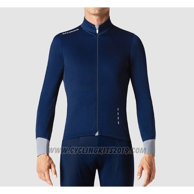 2019 Cycling Jersey La Passione Blue Gray Long Sleeve and Bib Tight
