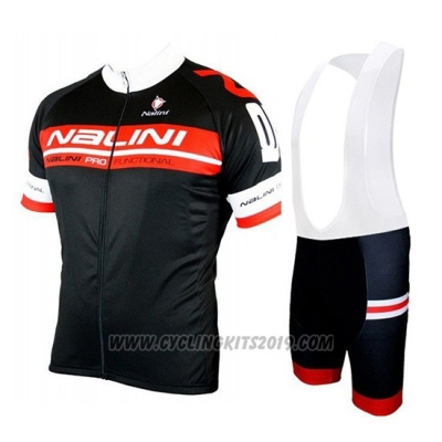 2019 Cycling Jersey Nalini Black Red Short Sleeve and Bib Short