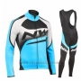 2019 Cycling Jersey Northwave Blue Black White Long Sleeve and Bib Tight