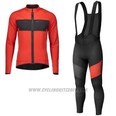 2019 Cycling Jersey Scott Rc Ff Red Black Long Sleeve and Bib Tight