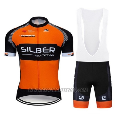 2019 Cycling Jersey Sliber Orange Black Short Sleeve and Bib Short