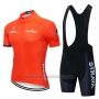 2019 Cycling Jersey Strava Orange Short Sleeve and Bib Short