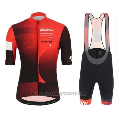 2019 Cycling Jersey Tour de Suisse Red Black Short Sleeve and Bib Short