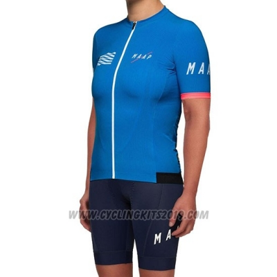 2019 Cycling Jersey Women Maap Blue Short Sleeve and Bib Short