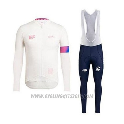 2020 Cycling Jersey EF Education First-drapac White Long Sleeve and Bib Tight