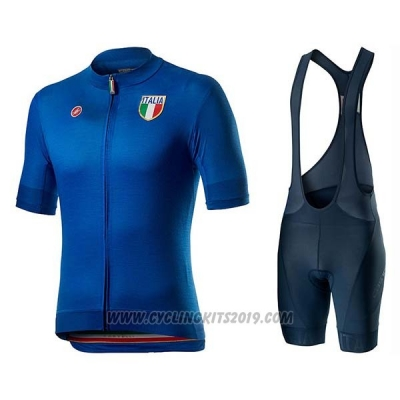 2020 Cycling Jersey Italy Blue Short Sleeve and Bib Short