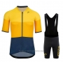 2020 Cycling Jersey Rapha Yellow Blue Short Sleeve and Bib Short