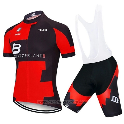 2020 Cycling Jersey Switzerland Red Black Short Sleeve and Bib Short