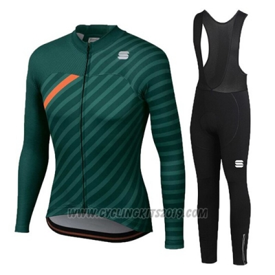 2020 Cycling Jersey Women Sportful Green Orange Long Sleeve and Bib Tight