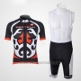 2011 Cycling Jersey Castelli Red and Black Short Sleeve and Bib Short