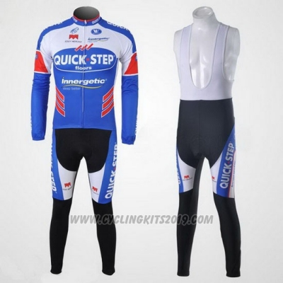 2011 Cycling Jersey Quick Step Floor White and Sky Blue Long Sleeve and Bib Tight