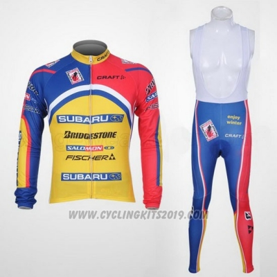 2011 Cycling Jersey Subaru Sky Blue and Yellow Long Sleeve and Bib Tight