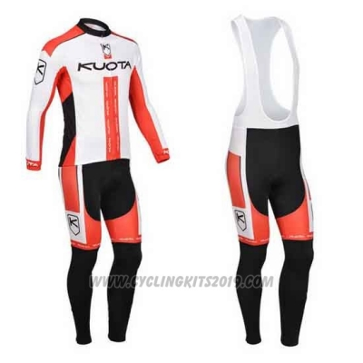 2013 Cycling Jersey Kuota White and Red Long Sleeve and Bib Tight