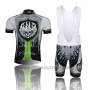 2013 Cycling Jersey Rock Racing Black and Green Short Sleeve and Bib Short