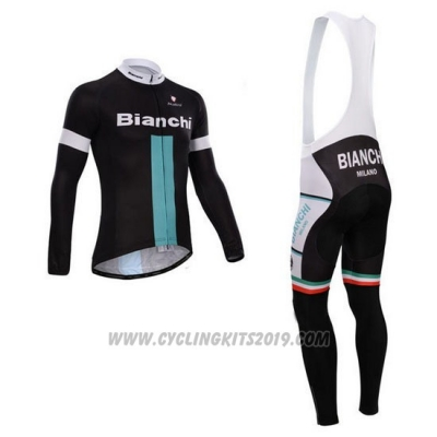 2014 Cycling Jersey Bianchi Black and Green Long Sleeve and Bib Tight