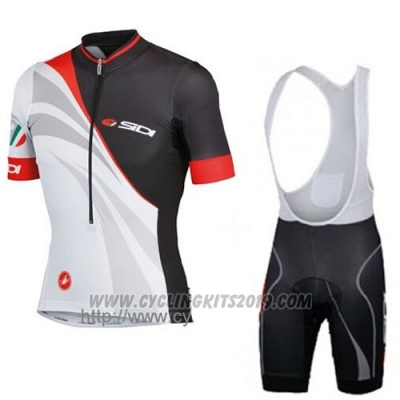 2014 Cycling Jersey Castelli SIDI Black and White Short Sleeve and Bib Short