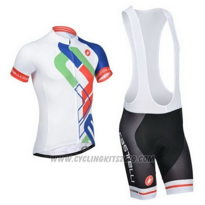 2014 Cycling Jersey Castelli White and Blue Short Sleeve and Bib Short