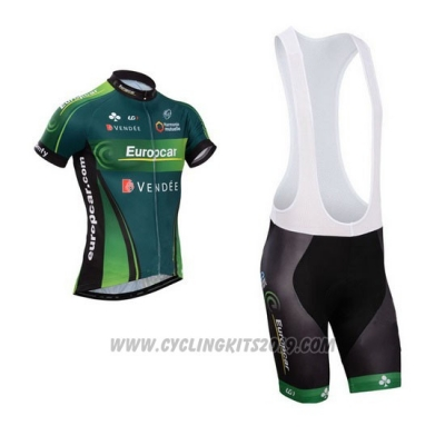 2014 Cycling Jersey Europcar Green Short Sleeve and Bib Short