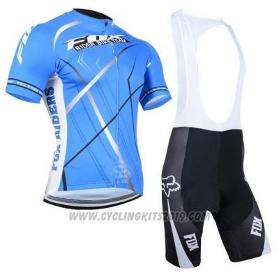 2014 Cycling Jersey Fox Sky Blue Short Sleeve and Bib Short