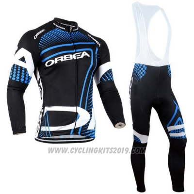 2014 Cycling Jersey Orbea Black and Blue Long Sleeve and Bib Tight