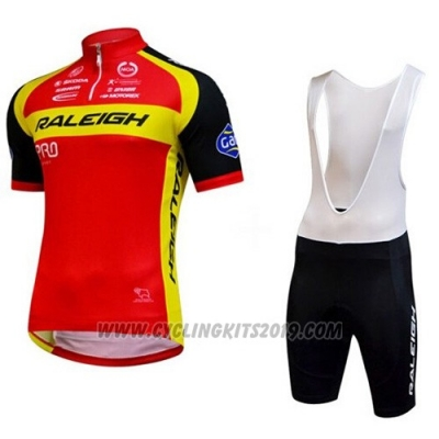 2014 Cycling Jersey Raleigh Black and Red Short Sleeve and Bib Short